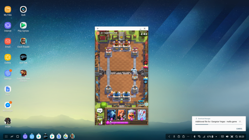 Samsung DeX dock playing Clash Royale