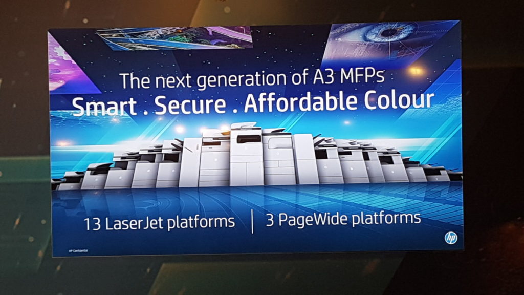 HP A3 MFP lineup poster