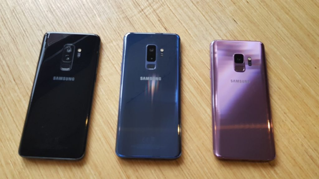 The three colours that the Galaxy S9 and S9+ will be available in for the Malaysia market - Midnight Black, Coral Blue and Lilac Purple