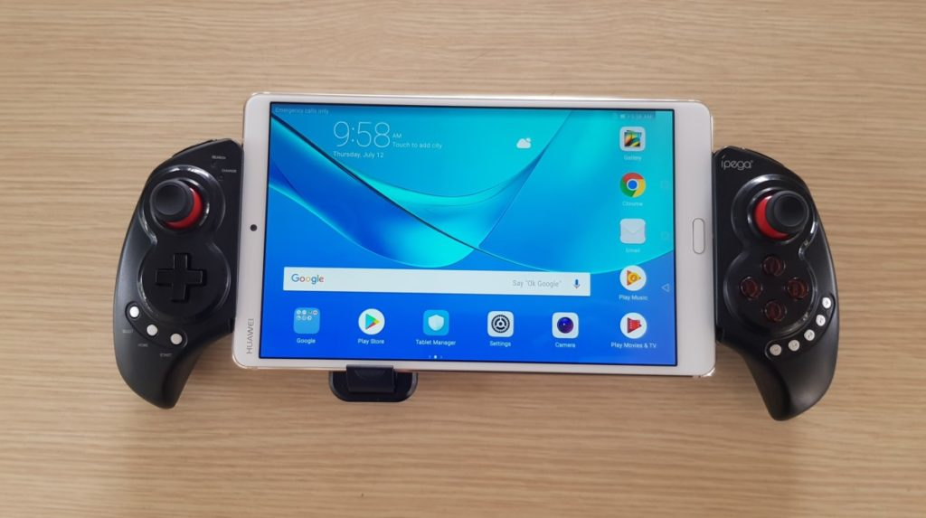The MediaPad M5 ships with a gamepad accessory at launch while stocks last
