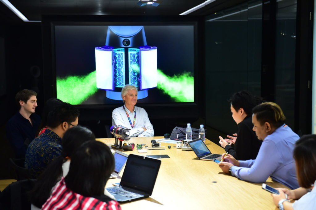 Sir James Dyson fielding questions from journalists at the Dyson MDC