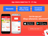 Score some great bargains with ShopBack's mobile app from now until 21 August