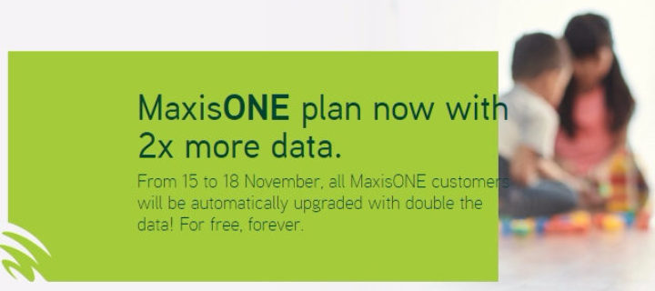 MaxisONE plan users now get double their data quota free for life