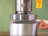 Everyone's favourite hydraulic press finally defeated by adamantium