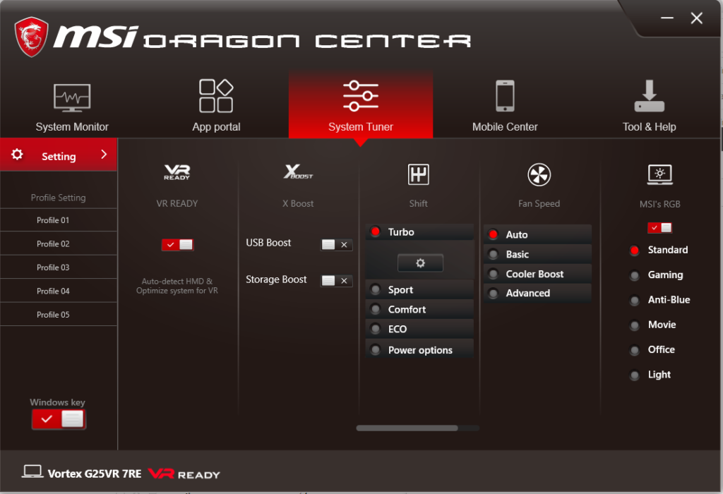The Dragon Center app common to all MSI rigs lets you modify a host of options without the need to tinker with hardware settings