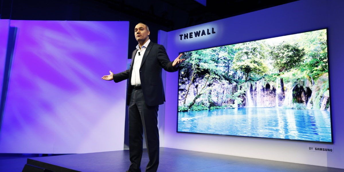 Samsung's new 146-inch 'The Wall' MicroLED TV at CES 2018 has a name that matches its size