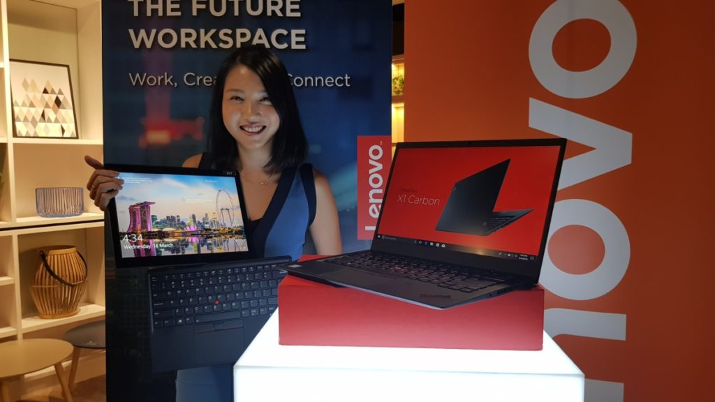 The Lenovo ThinkPad X1 tablet with its detachable keyboard and the X1 Carbon notebook