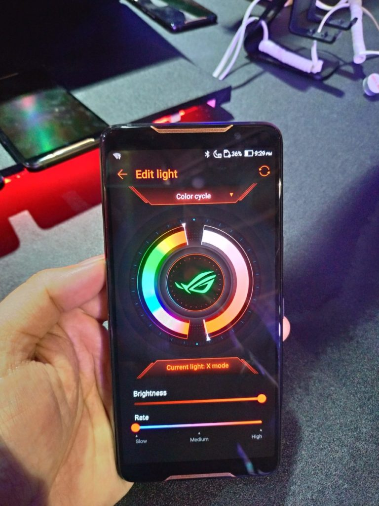 The ROG phone, befitting its gaming audience has customisable backlighting
