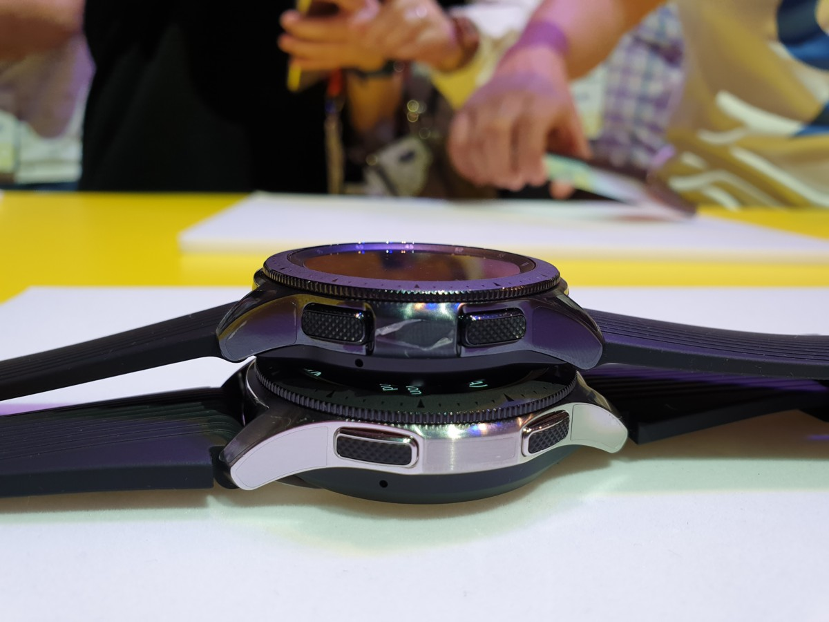 Samsung Galaxy Watch in 42mm and 46mm sizes side view