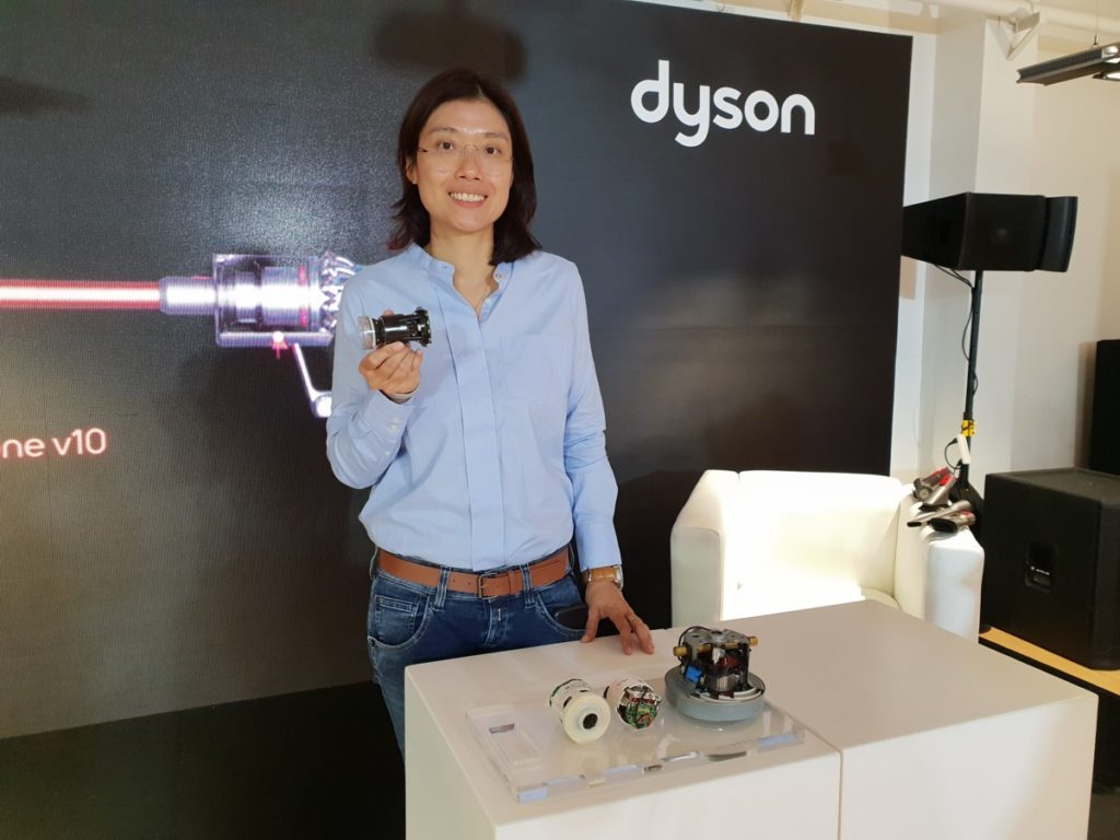 Yvonne Tan Dyson Digital Motor Engineering Manager with the V10 digital motor powering the Cyclone V10 vacuum cleaner