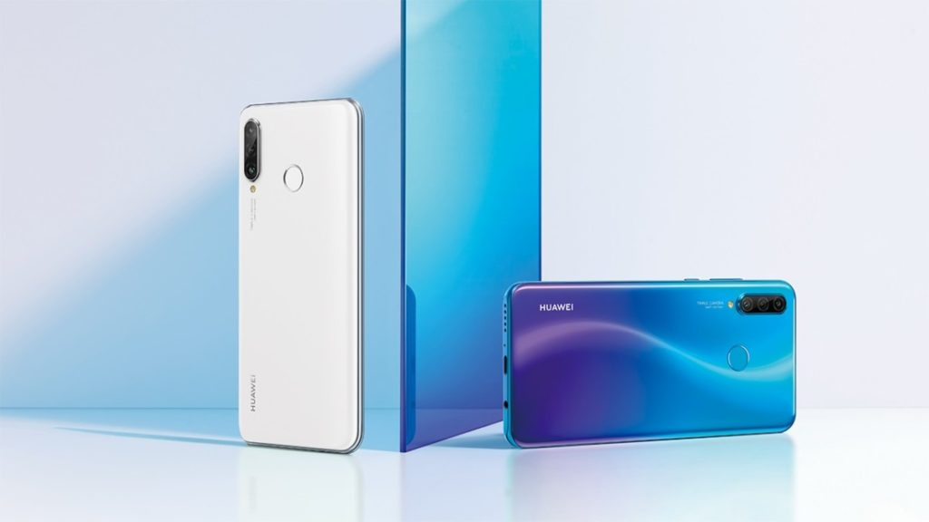 Huawei nova 4e in Paerl White and Peacock Blue