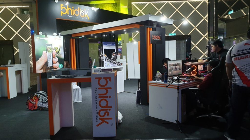 Phidisk Malaysia, one of TECS key sponsors showcasing their latest storage solutions in their booth on the tournament grounds