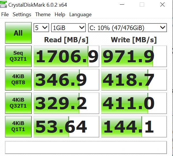 VivoBook Ultra K403 crystal disk mark