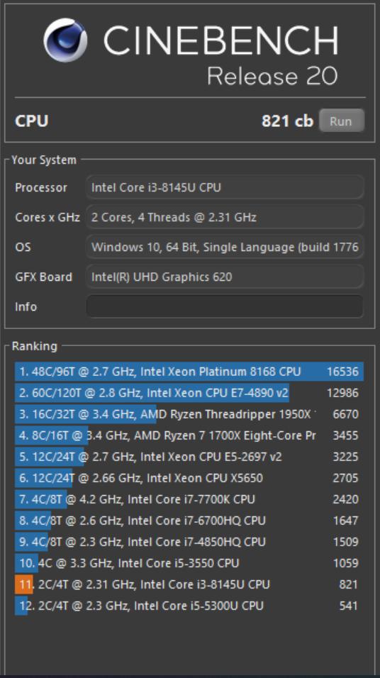 VivoBook Ultra K403 cinebench