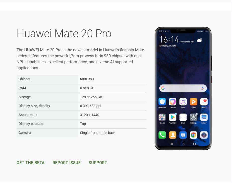 Mate 20 Pro Beta Q page screencap