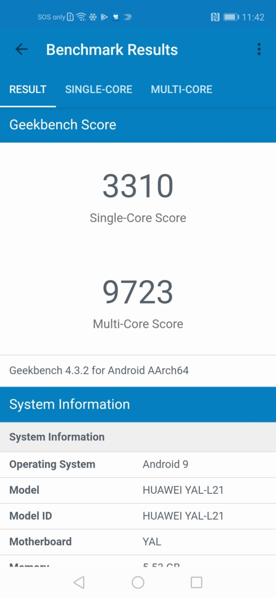 HONOR 20 geekbench