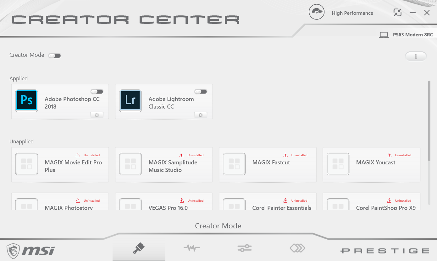 MSI PS63 8RC Creator apps