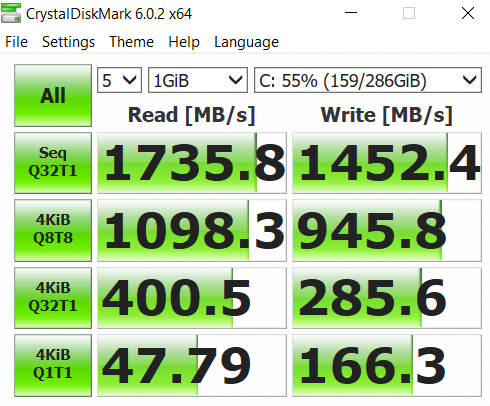MSI PS63 Modern benchmark crystal disk mark