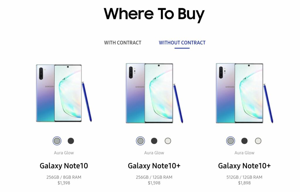 galaxy note 10 prices