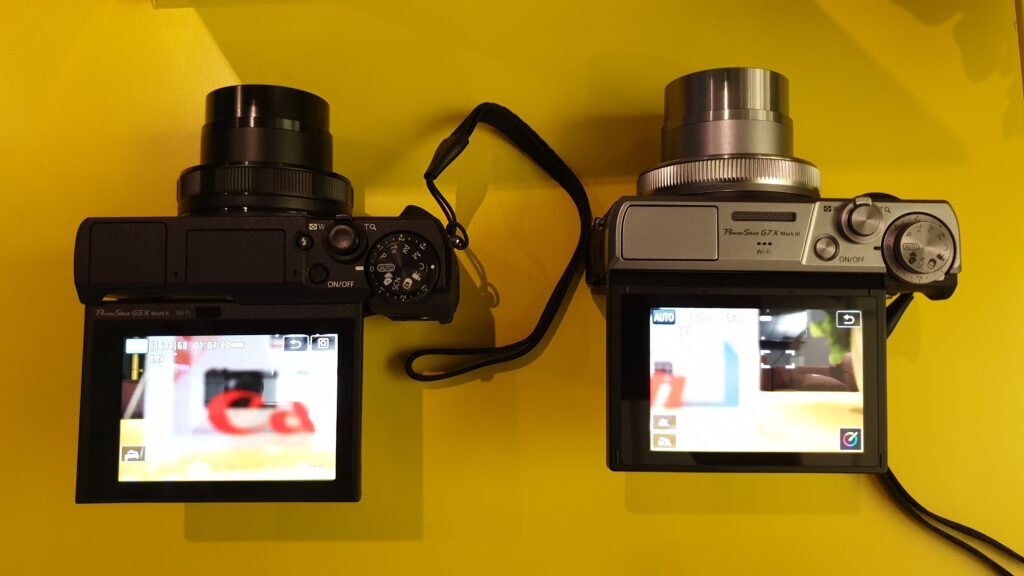 Canon PowerShot G5X Mark II and PowerShot G7X Mark III top lcd