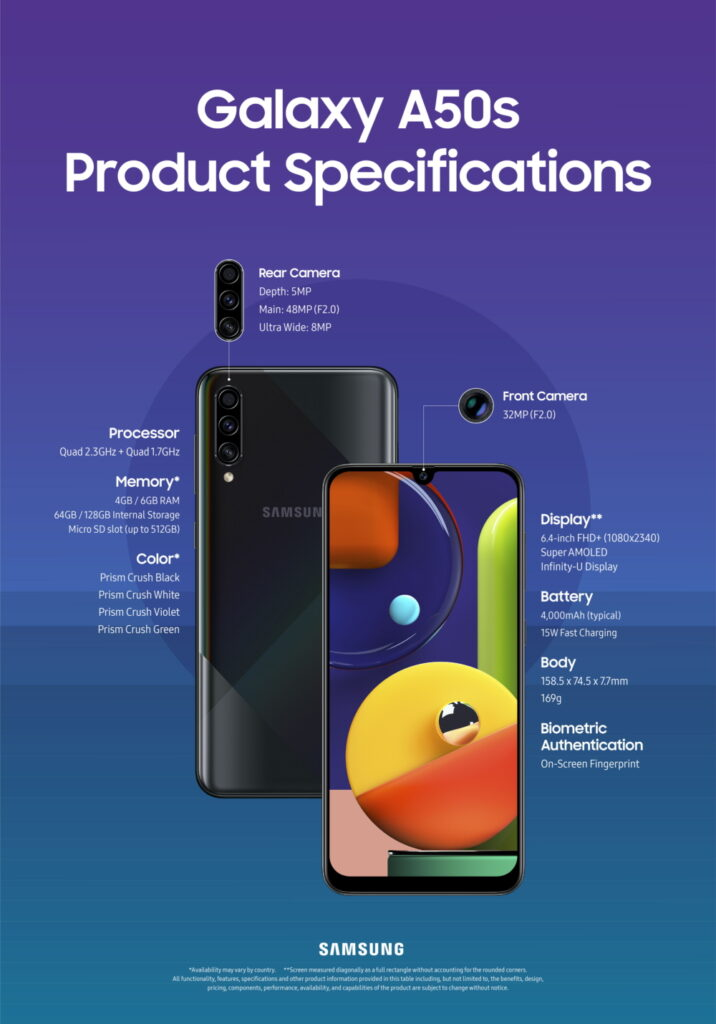 Galaxy A50s specifications