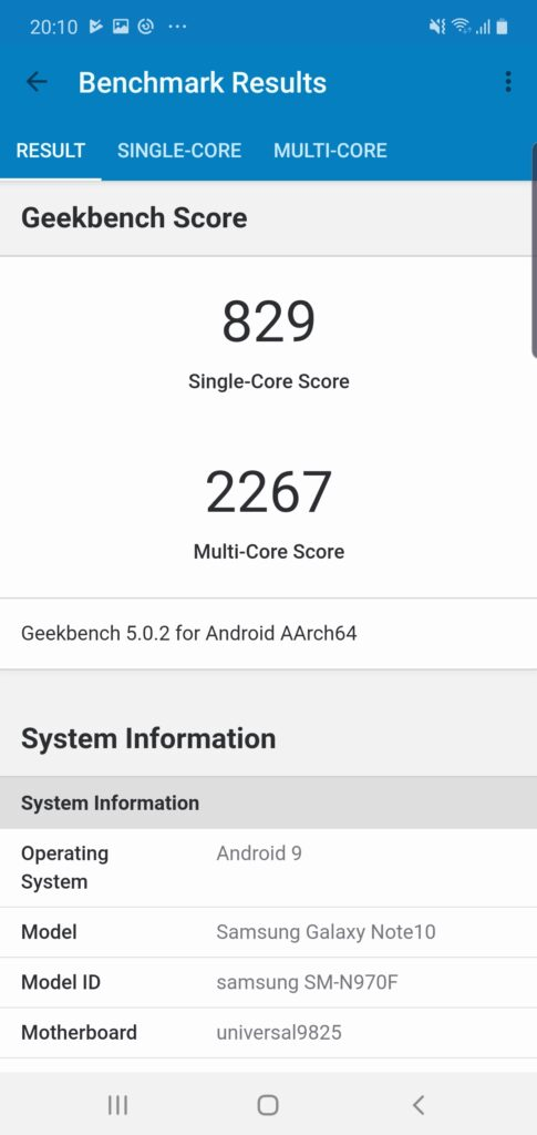 GeekBench Galaxy Note10