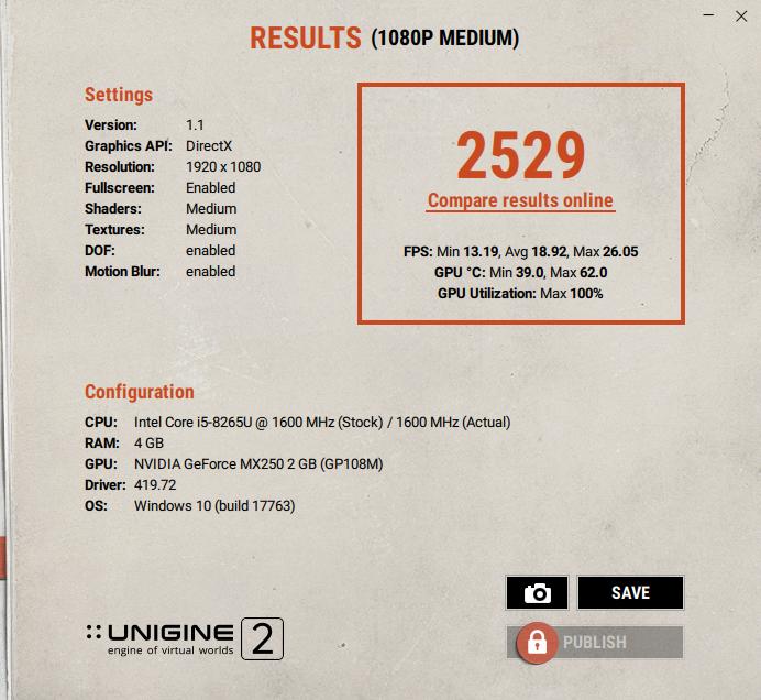 Asus Vivobook S15 S531F superposition unigine