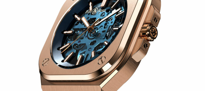 This exclusive Bell & Ross BR 05 Skeleton Gold Blue watch looks absolutely amazing