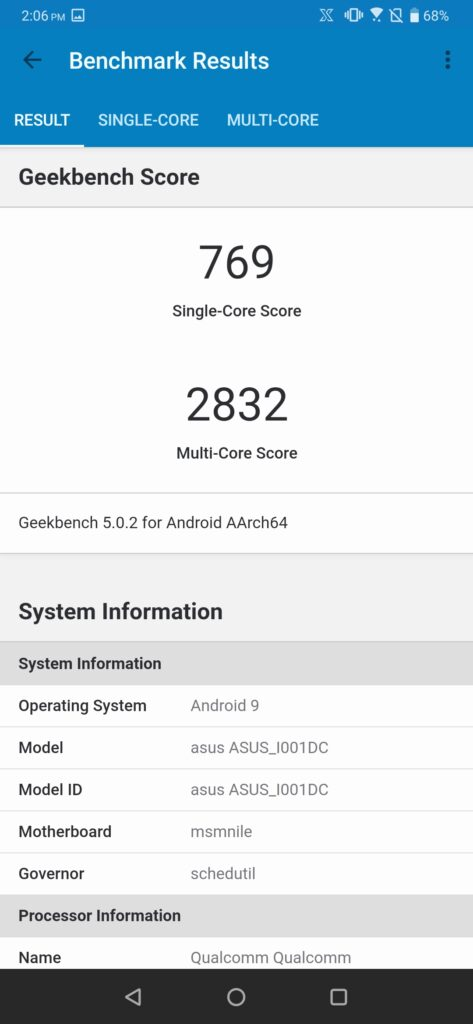 ROG Phone 2 Geekbench Performance mode on