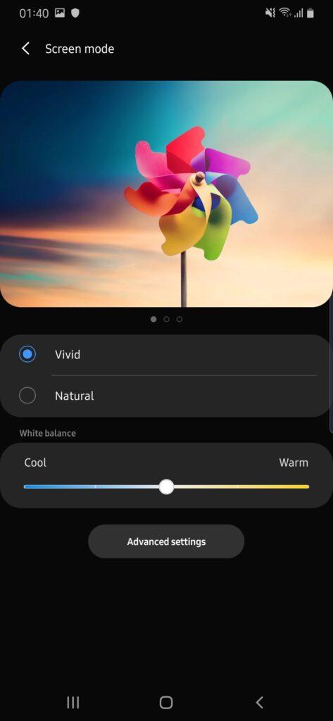 Galaxy A50s colour screen