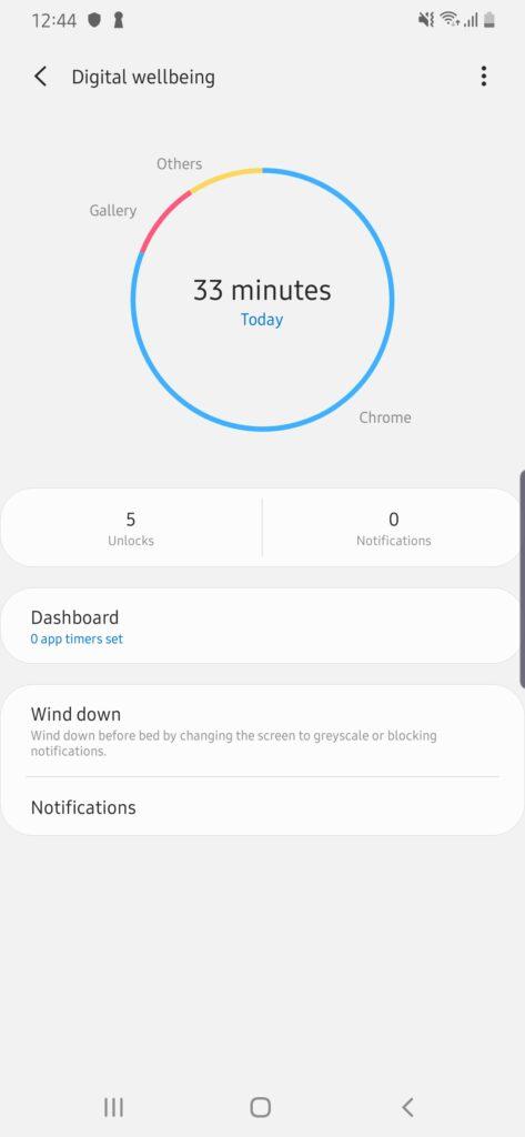 Galaxy A50s Digital wellbeing