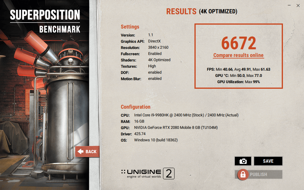 Alienware M17 R2 superposition benchmark