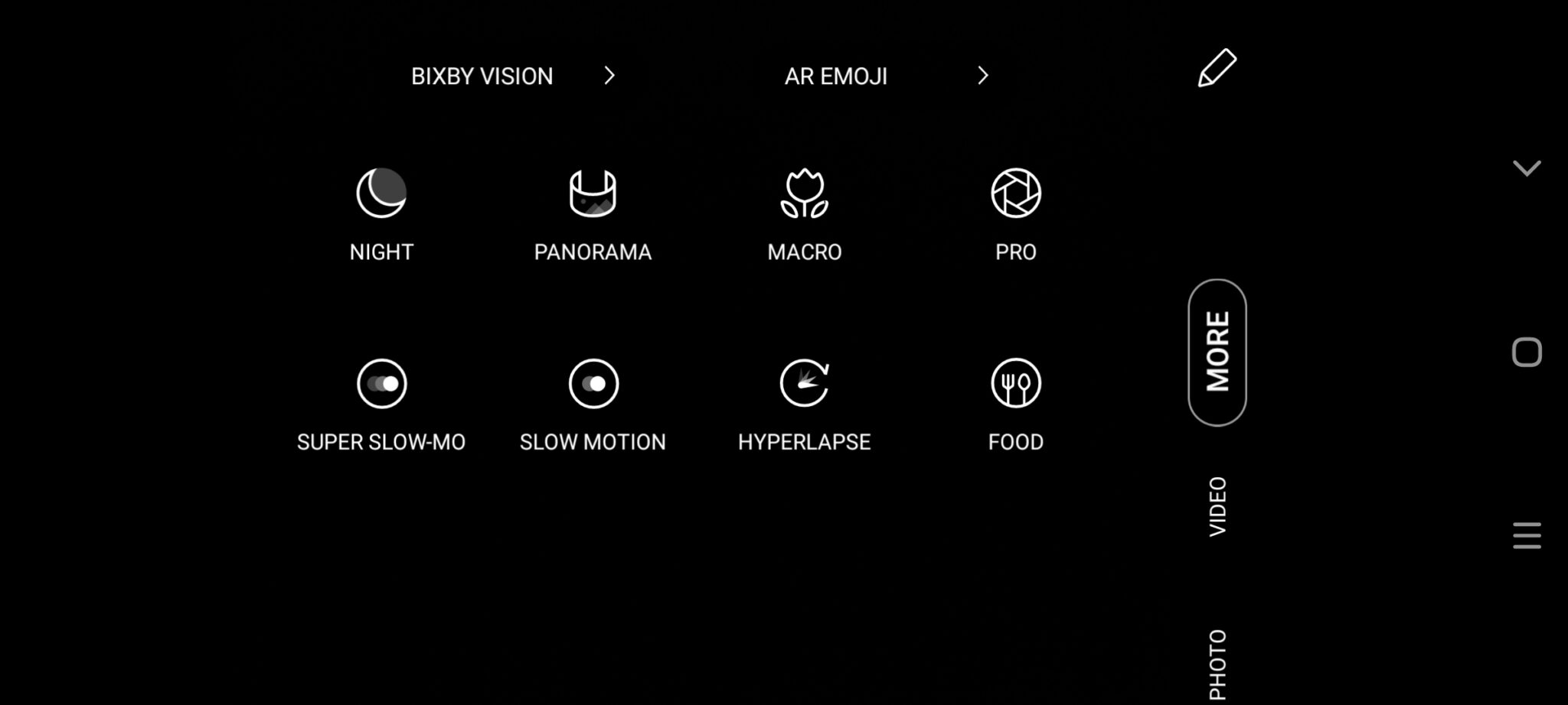 Samsung Galaxy A71 camera mode UI