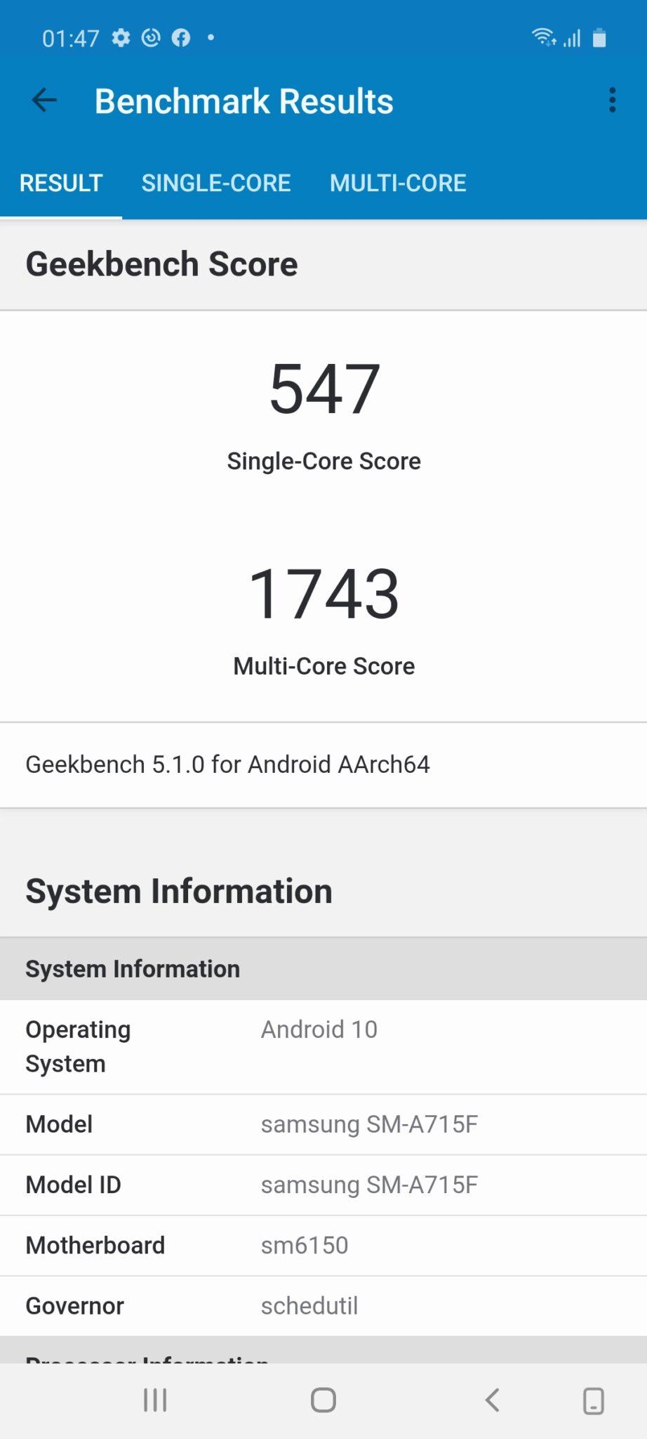 Samsung Galaxy A71 geekbench 5