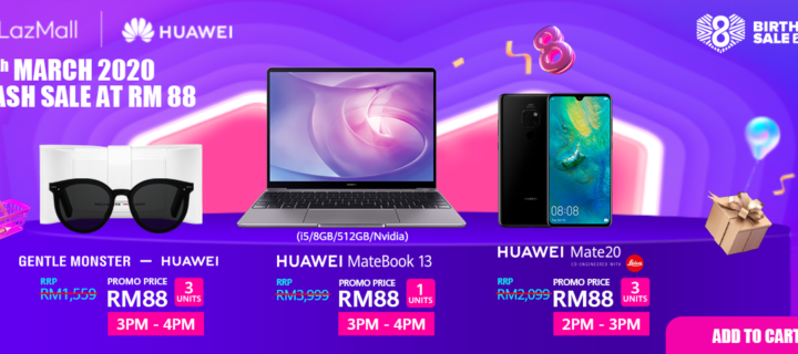 Get the Huawei MateBook 13 notebook for just RM88 and more in the amazing Lazada flash sales on 26th March!