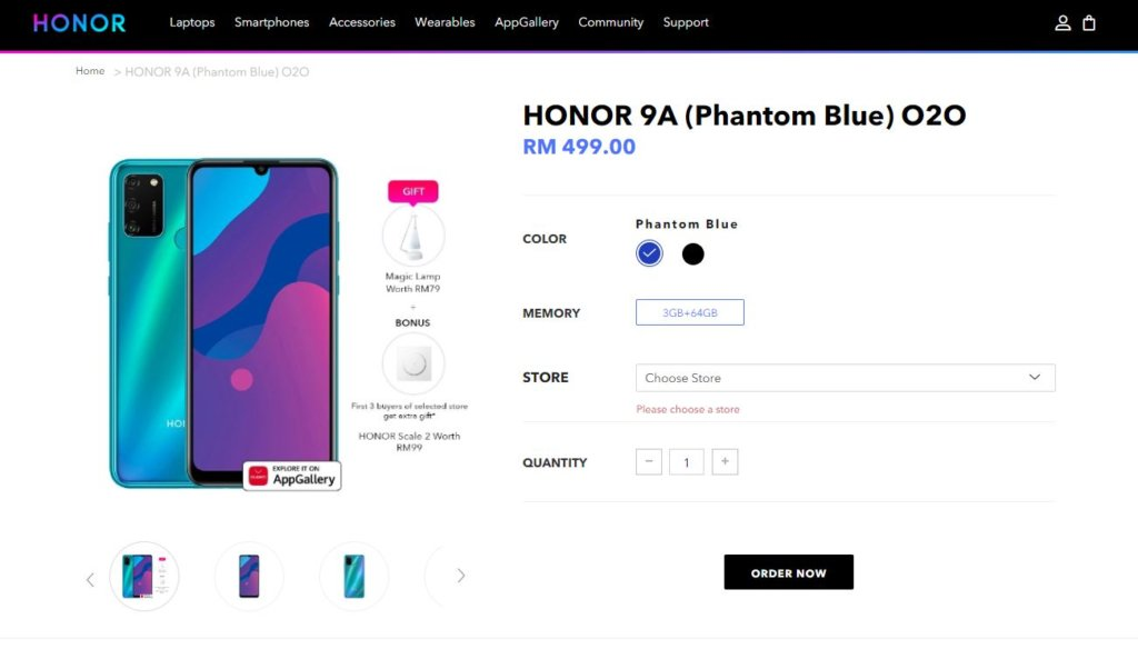 honor 9A free lamp