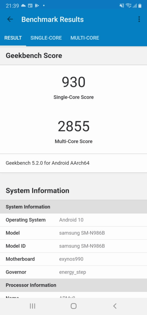 Samsung Galaxy Note20 Ultra 5G geekbench