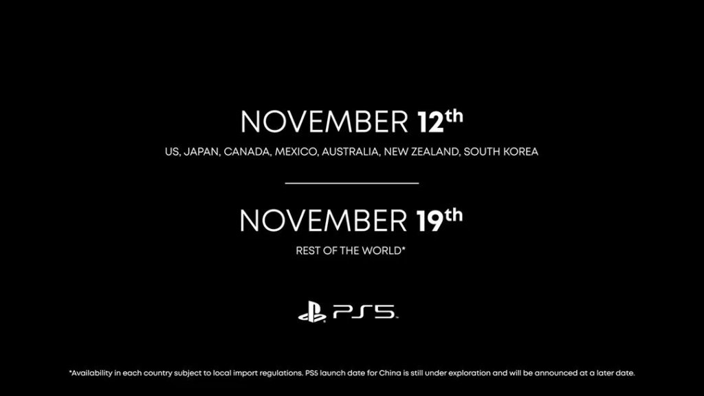 Sony Playstation 5 date