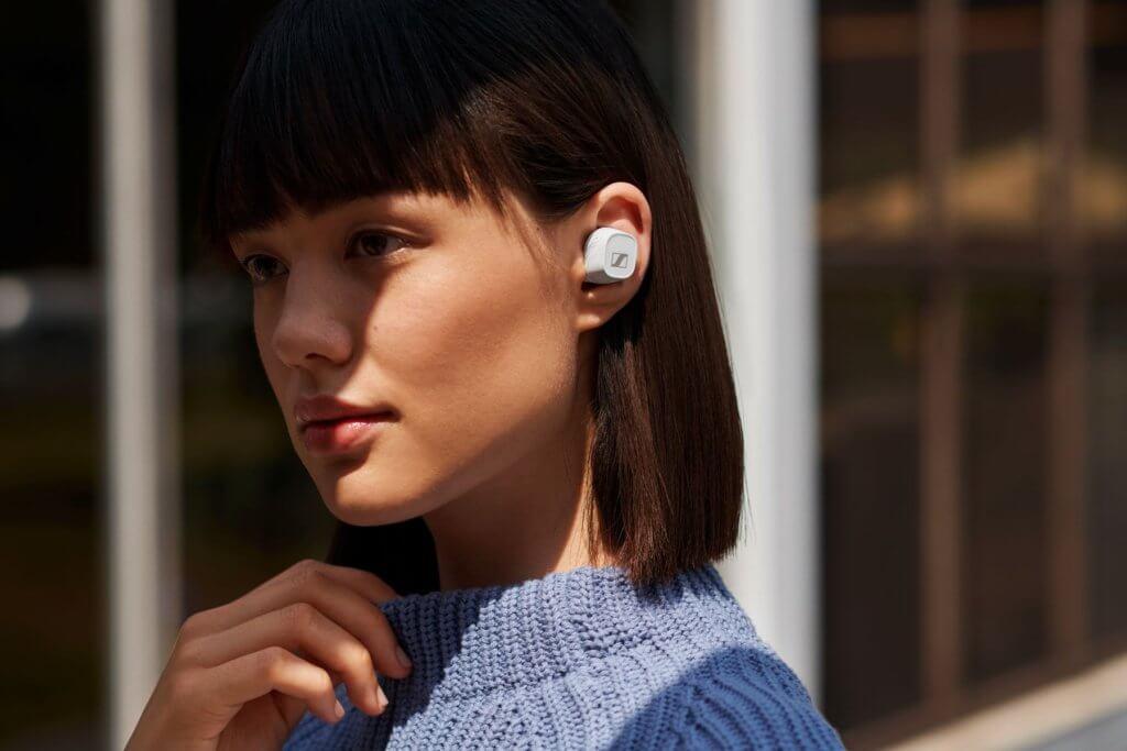Sennheiser CX400 BT True Wireless earbuds angled wearer