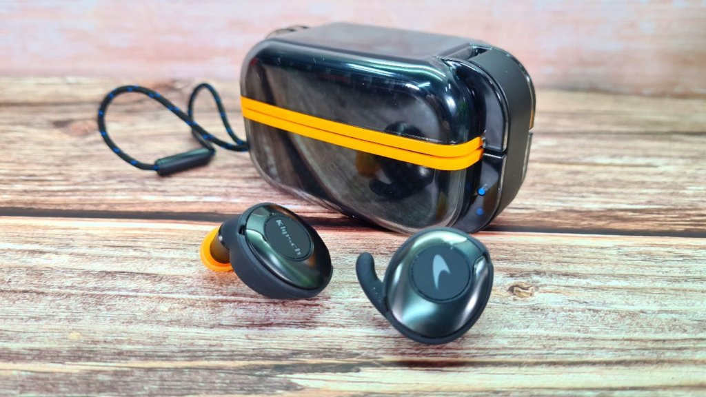 Klipsch T5 II True Wireless Sport McLaren Edition review angled closed
